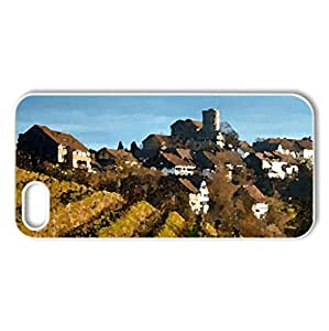 vineyards around a hill town - Case Cover for iPhone 5 and 5S (Fields Series, Watercolor style, White)