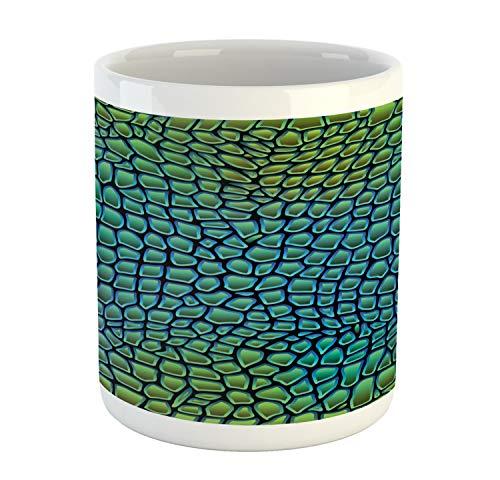 Ambesonne Abstract Mug, Alligator Skin Animal Crocodile Reptile Safari Wildlife Vibrant Artwork, Printed Ceramic Coffee Mug Water Tea Drinks Cup, Green Blue