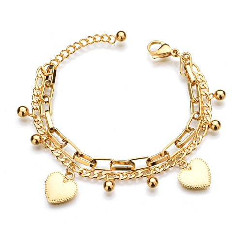 LUREME 18K Gold Stainless Steel Multi Chains Bracelet with Ball and Heart Charms for Women (bl003259)