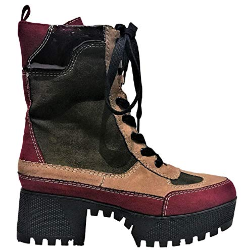 BAMBOO Powerful-06s Women Military Combat Lace Up Lug Sole Ankle High Boots Multi Color 10