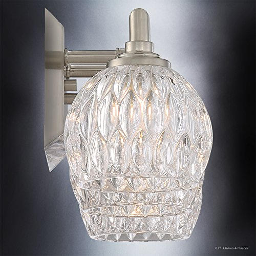 Luxury Crystal LED Bathroom Vanity Light, Medium Size: 6.25''H x 20''W, with Classic Style Elements, Brushed Nickel Finish and Marquis Cut Glass Shades, G9 LED Technology, UQL2621 by Urban Ambiance by Urban Ambiance (Image #4)