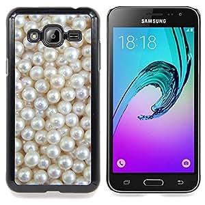 /Skull Market/ - White Rich Pearl Jewel Gem For Samsung Galaxy J3 - Mano cubierta de la caja pintada de encargo de lujo -