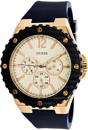 GUESS-Womens-U0452L3-Sporty-Oversized-Multi-Function-Watch-on-a-Comfortable-Navy-Blue-Silicone-Strap-with-Rose-Gold-Tone-Accents