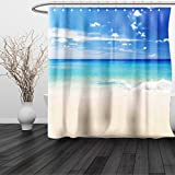 HAIXIA Shower Curtain Ocean Tropical Haven Style Sandy Shore and Sea with Waves Escape to Paradise Theme Cream Turquoise White