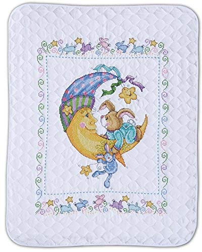 Tobin - Bunny and Moon Baby Quilt - Stamped Cross Stitch Kit T21761-34 by 43 inches - with Gift Card
