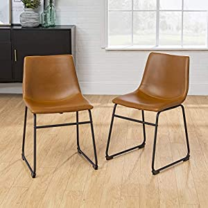 Walker Edison Furniture 18″ Industrial Faux Leather Kitchen Dining Chair, Whiskey Brown