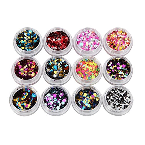 Hot Nail Art! AMA(TM) 12 Bottles Multicolor Mini Round Thin Nail Glitter Paillette Shinning Nail Mirror Powder DIY Decoration Nail Art Glitter (Diy Glitter Bottles)