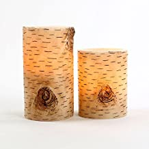 """Set of 2 Birch Bark Flameless Wax Battery Operated 4"""" and 6"""" LED Candles"""