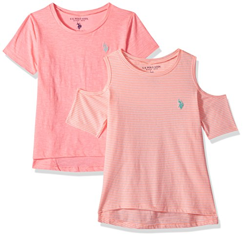 U.S. Polo Assn. Girls' Toddler 2 T-Shirt, Pack Cold Shoulder tie Sleeve Solid Multi, 4T