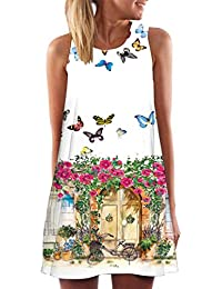 ✿ Vintage Boho Dress, Women Summer Sleeveless Beach Printed Short Mini Dress