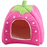 Cute Soft Sponge Strawberry Pet Cat Dog House Bed With Warm Plush Pad for Small and Medium Pets -5 Colors (M, Pink)
