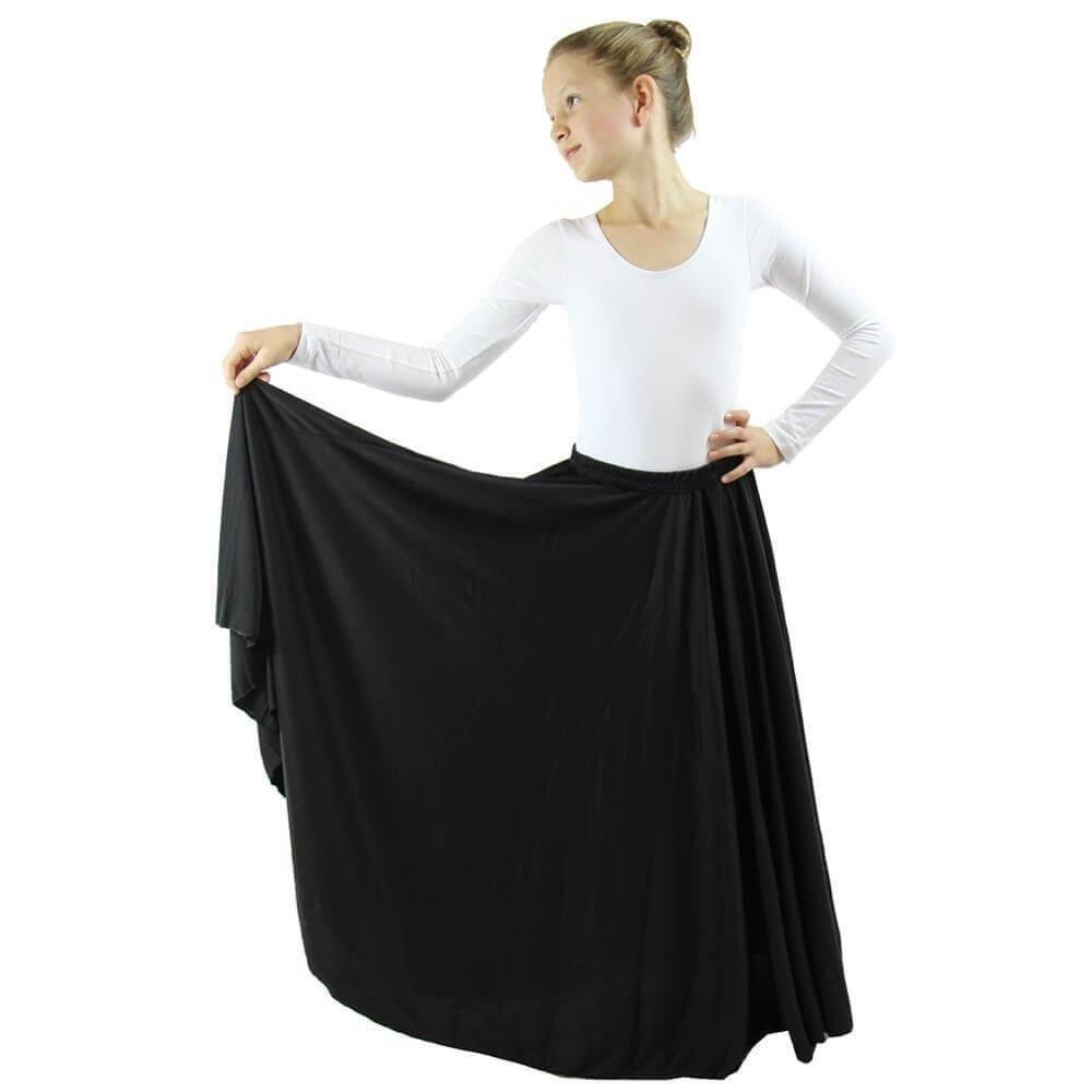 Danzcue Girls Long Full Circle Dance Skirt, Black, S-M by Danzcue