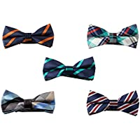 5 Pack Mens Boys Assorted Colors Patterns Bow ties Elegant Fashion Adjustable Pre-tied Bowties by GradeCode