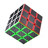 Puzzle Cube, Haip 3x3x3 Carbon Fiber Sticker Speed Smooth Magic Cube Puzzle Cube Black (Base Holder Included)