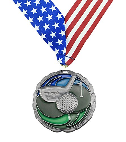 Decade Awards Silver Golf Color Medal - 2nd Place - Come with Exclusive Stars and Stripes American Flag V Neck Ribbon - 2.5 inch wide - Made of Metal - Perfect for Golfing Tournament (SILVER) (Golf Third Cart)