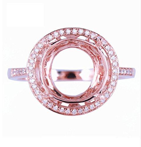 GOWE New Fashion Jewelry Ring 10 -12mm Round Cut Solid 10K Rose Gold Semi Mount Engagement Wedding Fine Diamonds Ring Women