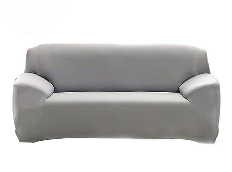Hotniu Funda Elástica de Sofá Funda de Color Liso para sofá Antideslizante Protector Cubierta de Moda (Cuatro Plazas, Gris)