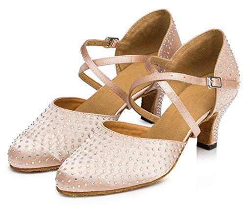 Tda Donna Moda Punta Rotonda Tacco Medio Fibbia Di Raso Strass Prom Nozze Cinturino Alla Caviglia Scarpe Da Ballo Beige