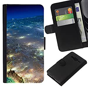 All Phone Most Case / Oferta Especial Cáscara Funda de cuero Monedero Cubierta de proteccion Caso / Wallet Case for Samsung Galaxy Core Prime // Universe Earth Aerial Photography City Lights