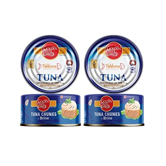 Golden Prize Tuna Chunk in Brine 185Gms Each - Pack of 2 Units