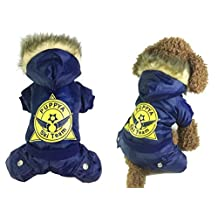ZUNEA Sports Ski Team Dog Snowsuit Jumpsuit Down Coat Hooded Fleece Lined Winter Warm Yorkie Chihuahua Clothes,for Small Pet Puppy Dog Cat Blue S