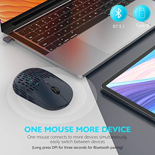Type C Wireless Mouse, RAPIQUE Dual Mode Rechargeable Silent Bluetooth Mice with 2.4G Type C Receiver for Laptop, Computer, Chromebook,MacBook and All Type-C Device (Blue)