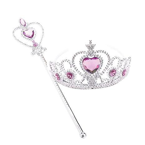 Girls Wand and Tiara Set Fancy Dress Dressing Up Princess Tiara Heart Headband