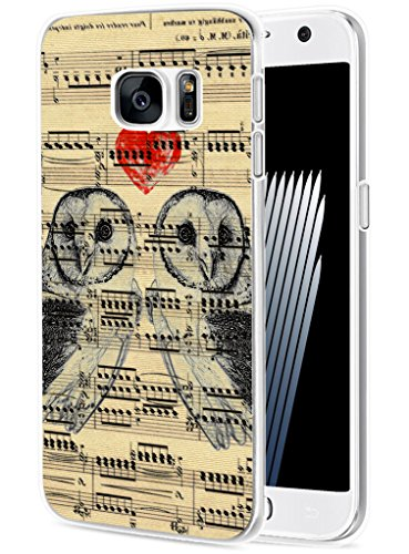 S7 Case Owl/ IWONE Designer TPU Non Slip Rubber Durable Compatible Protective Skin Transparent Cover Shockproof Replacement For Samsung Galaxy S7 + Vintage Owl Print Design Animal