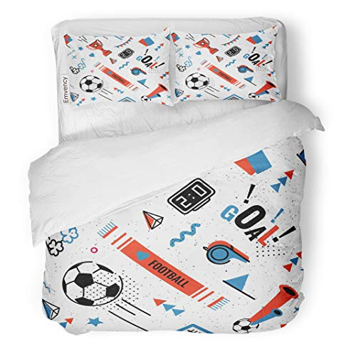 Semtomn Decor Duvet Cover Set Twin Size Soccer Football Abstract in 80S Memphis Pattern for Posers 3 Piece Brushed Microfiber Fabric Print Bedding Set Cover -