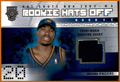 2002-03 Fleer Hot Shots Rookie Hats Off #170 Fred Jones AUTHENTIC SHIRT PIECE INDIANA PACERS OREGON DUCKS SERIAL #230/350