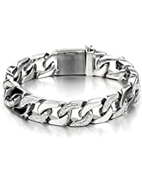 Top Quality Men's Stainless Steel Curb Chain Bracelet Silver Color High Polished with Cubic Zirconia