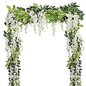 Dyna-Living 4Pcs 6.6Ft/Piece Artificial Flowers Silk Wisteria Garland Artificial Wisteria Vine Rattan Silk Hanging Flower for Home Garden Outdoor Ceremony Wedding Arch Floral Decor (White) 89