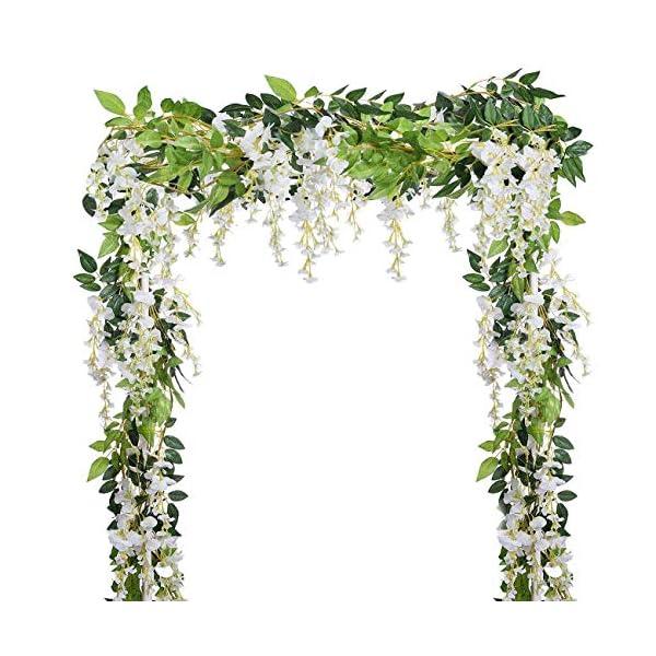 Dyna-Living-4Pcs-66FtPiece-Artificial-Flowers-Silk-Wisteria-Garland-Artificial-Wisteria-Vine-Rattan-Silk-Hanging-Flower-for-Home-Garden-Outdoor-Ceremony-Wedding-Arch-Floral-Decor-White