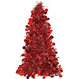 red christmas tree Red Tinsel Christmas Tree Table Centerpiece | Party Decoration
