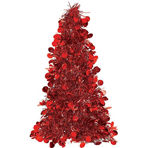 Red Tinsel Christmas Tree Table Centerpiece | Party Decoration