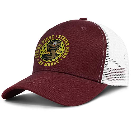 SHTHYTS Men's Cobra-Kai-Strike-Four-Snake-Logo-Adjustable Snapback Hat Personalized Hunting Trucker Dad Baseball Caps -
