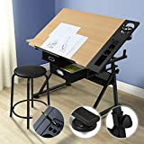 Height Adjustable Drawing Table | with Comfortable Stool, 2 Drawers & Tiltable Tabletop | Architecture Design Work Station, Study, Drafting, Art Craft Desk, Home Office Furniture