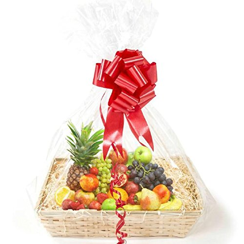 "EXTRA LARGE CELLOPHANE BAGS 10 PACK gift basket packaging bag Flat with ""AIR-FREE Wrapping Solution"" 30 x 40 inches. Fancy & Easy Gift, Cake, Wine, Basket Decoration for any EVENTS"