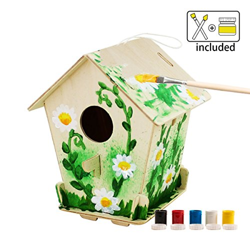ROBOTIME 3D Wooden Painting Puzzle Bird House Kits to Build DIY Kits Educational Toys for Kids Age 3+