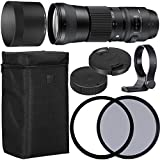 Sigma 150-600mm f/5-6.3 DG OS HSM Contemporary Lens for Nikon F with 95mm UV and 95mm Polarizing Filer + Case + Collar C-PL AOM Starter Kit - International Version