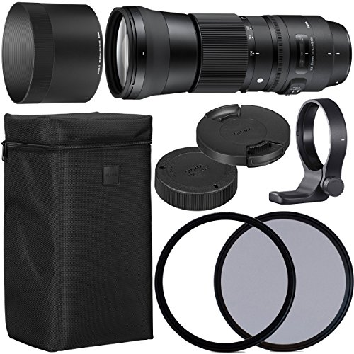 Sigma 150-600mm f/5-6.3 DG OS HSM Contemporary Lens for Nikon F with 95mm UV and 95mm Polarizing Filer + Case + Collar C-PL AOM Starter Kit – International Version