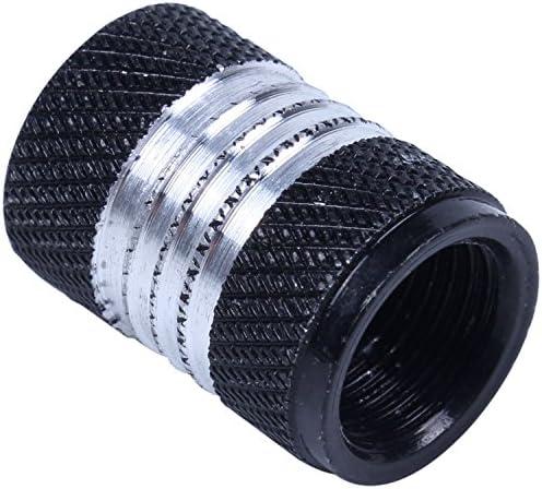 Gaoominy 4xアルミ合金カーオートバイ ホイールタイヤバルブステムキャップ 防塵カバー 黒