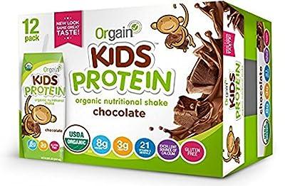 Orgain Kids Protein Organic Nutritional Shake, Chocolate, Non-GMO, Gluten Free, 8.25 Ounce,