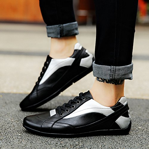 Salabobo QYY-101 New Mens Leather Leisure Cozy Athletic Comfy Smart Walking Shoes Black UK Size8.5 real for sale FlKuavy1