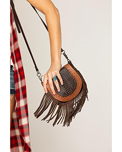 Shyanne Women's Studded Fringe Crossbody Bag Brown One Size