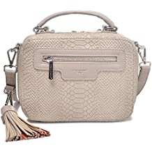 DAVIDJONES Women's Designer Elegant Snakeprint Faux Leather Square Boxy Baguette Shoulder Bag Crossbody Bag with Tassel