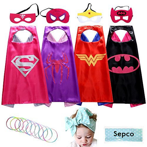 [Sepco Superhero Costume Girl Cape and Mask with Glow Bracelet and Hair Band] (Supergirl Costumes Pink)