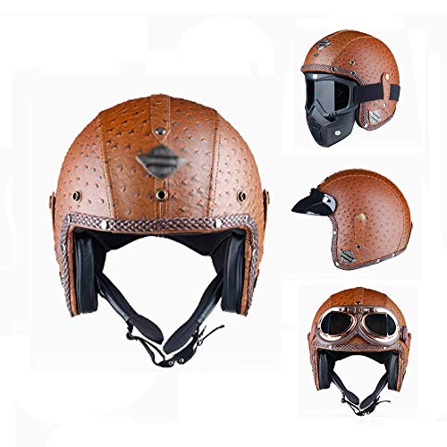 - Open Face Helmet Retro Harley Motorbike Helmets Old School Jet Bobber Adjustable Size Lightweight Breathable Casco Casque DOT Certification,Brown,M