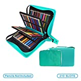 200 + 16 Slots Pencil Case & Extra Pencil Sleeve Holder - Bundle for Prismacolor Watercolor Pencils, Crayola Colored Pencils, Marco Pens and Cosmetic Brush by YOUSHARES (216 Slots Green)