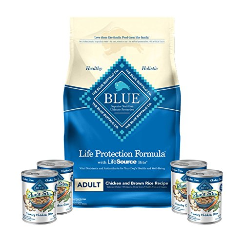 Blue Dry Dog Food-Life Protection Formula Natural Adult Chicken and Brown Rice 15 lb bag & 4 cans Country Chicken Stew 12.5 oz Plus 1 Lid to Reseal Canned Food For Sale